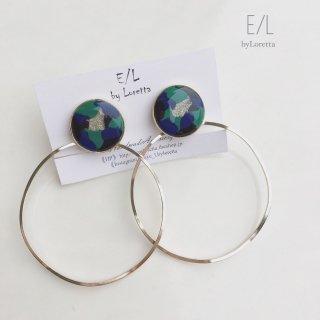 2way circle marble big hoop pierce/earring
