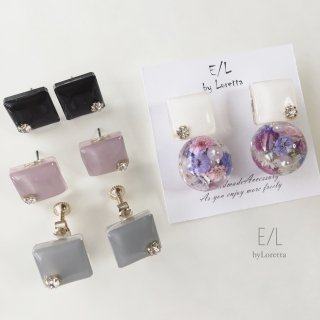 (全4色)Color square × Flowerball pierce/earring