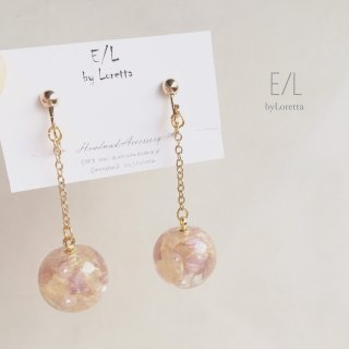 Flowerball chain pierce/earring