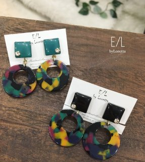 Color square modern hoop pierce/earring