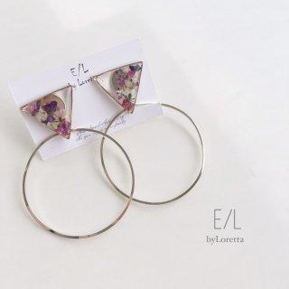 2way triangle flower hoop pierce/earring