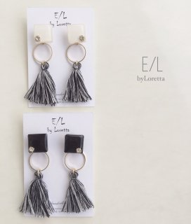 (全2色)2way color square mix tassel pierce/earring