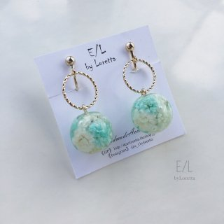 Flowerball hoop pierce/earring(MINT)