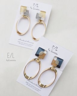(全2色)Square 3color oval hoop pierce/earring