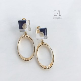 Square 3color oval hoop pierce/earring