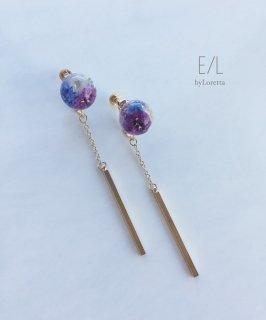 Mini flower ball chain stick pierceearring