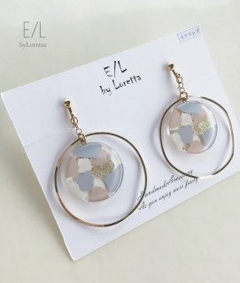 Marble hoop pierce/earring