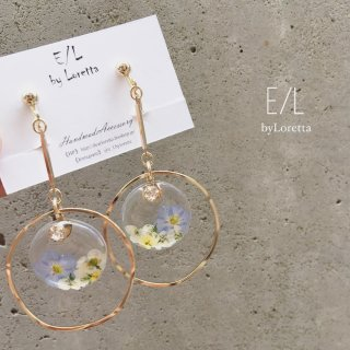 Clear flower stick hoop pierce/earring(Light Blue)