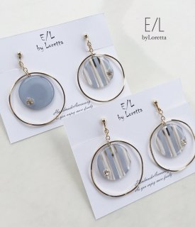 Stripe big hoop pierce/earring