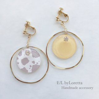 Asymmetry animal big hoop pierce/earring(LEMON)