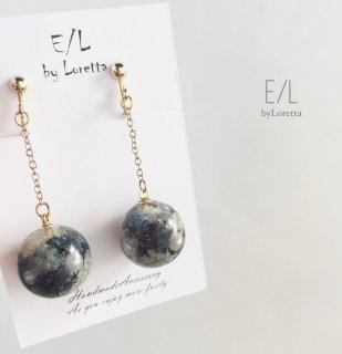 Flowerball chain pierce/earring(Antique blue)