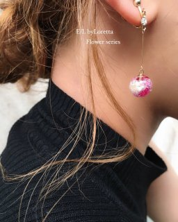 Mini Flower Ball Stick Pierce/Earring(Hot pink)