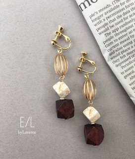 Wood beads pierce/earring