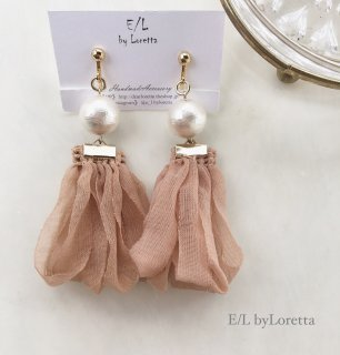 Pearl loop tassel pierce/earring(Pink Beige)