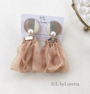 Circle art loop tassel pierce/earring(Beige)