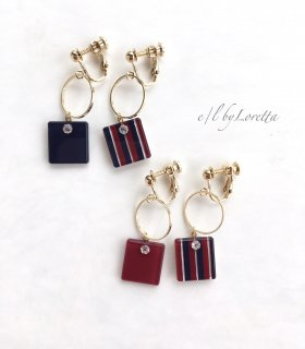 (全2色)Asymmetry square hoop stripe pierce/earring