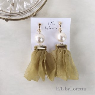 Pearl loop tassel pierce/earring(Mustard)