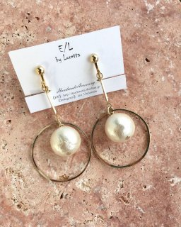Cotton pearl stick hoop pierce/earring