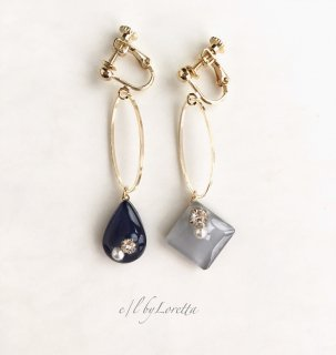 Asymmetry Shizuku square oval hoop pierce/earring(Gray×Navy)