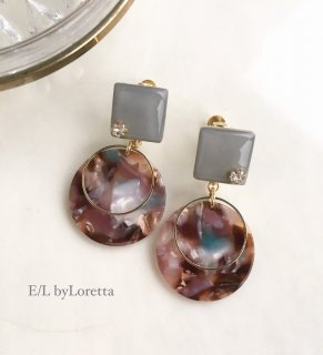 Color square marble hoop pierce/earring