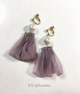 Pearl loop tassel pierce/earring(Purple)