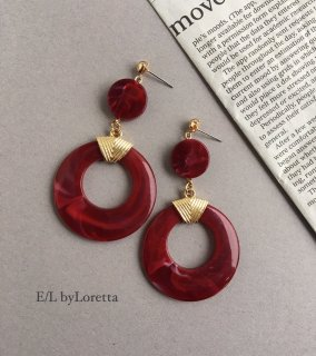 Marble circle hoop pierce/earring(Bordeaux)
