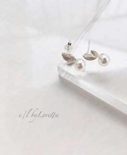 Silver925 leaf pearl pierce