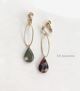 Asymmetry Shizuku square oval hoop pierce/earring(Khaki mix)