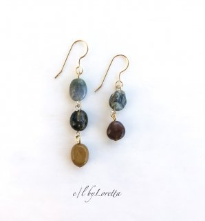 オーシャンジャスパー Asymmetry pierce/earring(Mustard×Green)