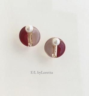 Circle bi-color Pearl pierce/earring(Bordeaux)