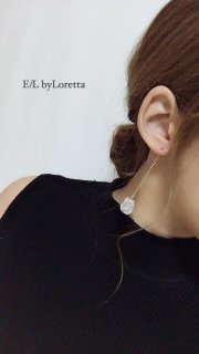 淡水pearl silver white chain pierce/earring