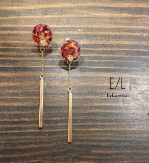 Flower chain stick pierce/earring(Red)