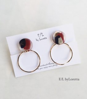 2Way art circle hoop pierce/earring(Bordeaux)