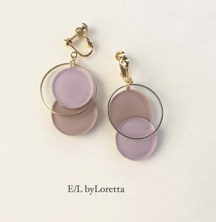 Asymmetry color pallet pierce/earring(Lavender×Beige)