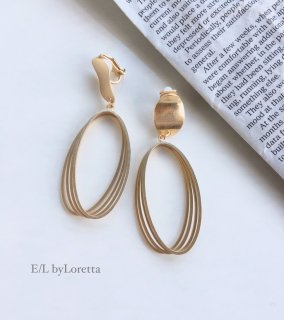 Gold plate oval hoop  pierce/earring