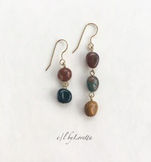 オーシャンジャスパー Asymmetry pierce/earring(Mustard×Green)�