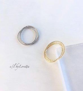3連 gold/silver ring