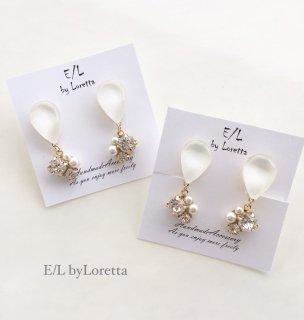 Color shizuku bijou pierce/earring(White)