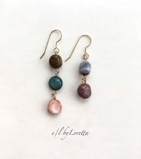 オーシャンジャスパー Asymmetry pierce/earring(Green×Pink)