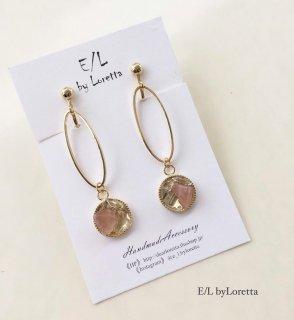 クリスタル×ディープローズクオーツ oval hoop pierce/earring