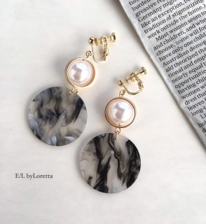 Marble circle pearl pierce/earring