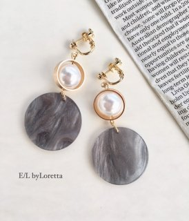 Marble circle pearl pierce/earring(Gray)