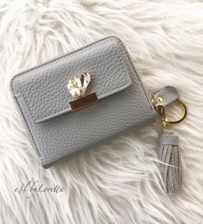 Heart bijou mini wallet(Gray)