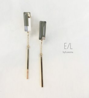 Asymmetry 3color stick pierce/earring(Khaki)