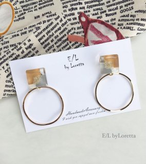3color square hoop pierce/earring(Mustard)