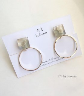 3color square hoop pierce/earring(Olive)
