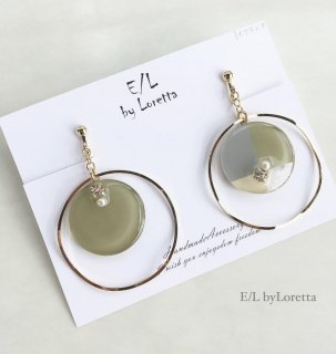 3color big hoop pierce/earring(Olive)