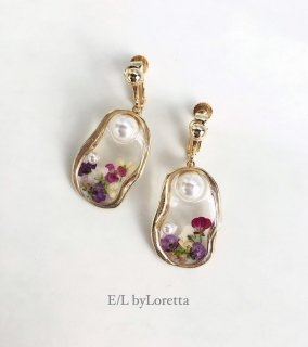 Flower pearl oval pierce/earring