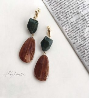 【9/17(tue)21:00〜Order Start.】Marble beads pierce/earring(Brown)