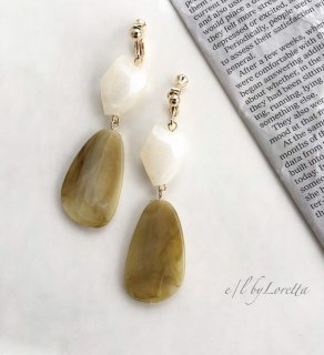 Marble beads pierce/earring(Yellow)